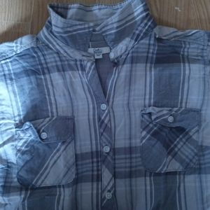 Grey button up flannel